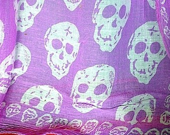 Vintage Goth Punk Day of the Dead Large Cotton Scarf/Shawl