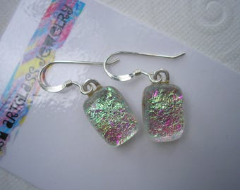 Dichroic Glass Earrings Happy Sparkle Dangles Iridescent Fused Glass .925 Sterling French Hook Color Shifting Transluscent Versatile Colors