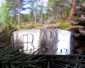 Big Bear Lake Vintage Trailer Moonlit Camp Sterling Trailer Hitch Cuff Bracelet   Size 7