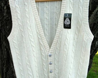 DeadStock 90s Estate Sale Wool Cable Knit Sweater Vest Never Worn Mint Condition