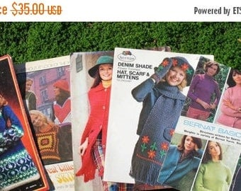 Vintage SET OF 5 Knitting and Crocheting Patterns From 1966- 1972 Fabulous designs Hats, Capes  , Sweaters, Shrugs, Mittens