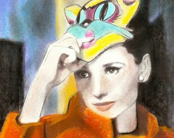 Audrey Cat Mask Original Pastel Pencil Charcoal 8x 10 Print By Connie Troupe My Favorite Scene in  Breakfast At Tiffany's