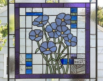 "Stained Glass Window Panel--""Forget Me Not"" Flowers over Geo- 20 7/8"" x 20 7/8"""
