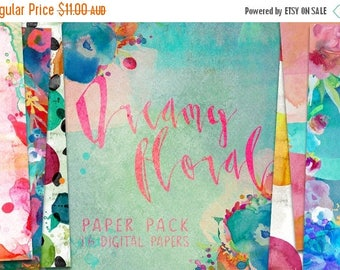 80% Off SALE Dreamy Floral Watercolor Digital Paper Pack Patterns - 16 digital painted backgrounds