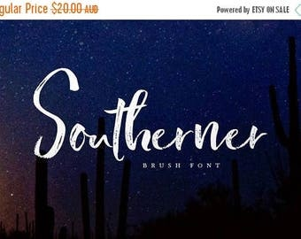 80% OFF Southerner Brush Script Font, Digital Font, Wedding Font, Calligraphy, Hand Writing, Logo
