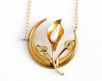 Antique Moon Necklace - Vintage 10k Yellow Gold Crescent & Flower Necklace - Edwardian Early 1900s Baroque Pearl Fine Pendant Jewelry