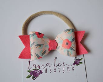 READY TO SHIP, Floral Faux Leather and Felt Bow, Nylon Headband or Clip, Smash Cake, Sparkle Bow, First Birthday Bow, Everyday Bow
