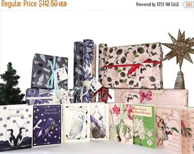 BLACK FRIDAY SALE Bohemian Christmas Cards and Gift Wrap Blue and  Fairy Christmas Cards and Gift Wrap Pink