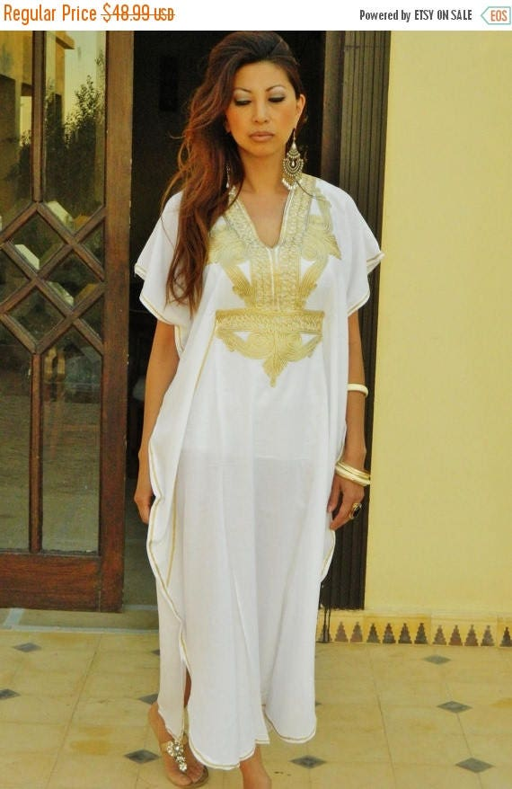 25% OFF Autumn Sale// White Caftan Kaftan Maxi Dress Moroccan Marrakech Style- White with Gold Embroidery, for beach cover ups, birthday gif