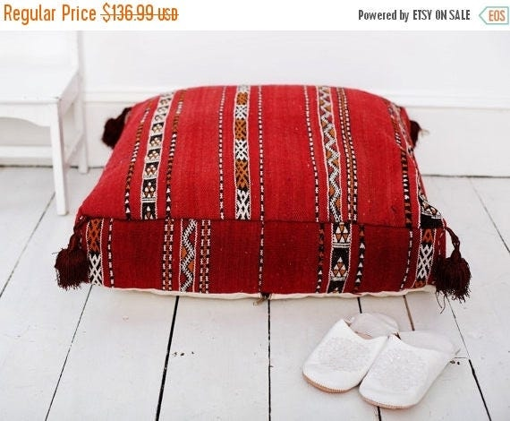 Autumn Dress 20% OFF/ 30 PercentOff Sale Home Gift | Vintage Kilim Moroccan Floor Cushion Pouf -home gifts, wedding gifts, anniversary gifts