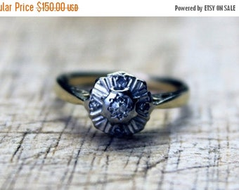 ON SALE Antique Diamond Engagement Ring Art Deco 1920s Vintage Yellow Platinum 18ct 18k 750 18kt FREE Shipping Size L.5 / 6