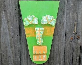 MURPHY, Tiki Bar, Tiki Man, Wood Sculpture, Tiki Mask, Irish Style, Shamrock