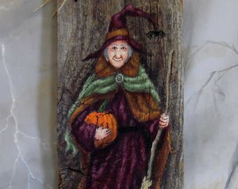 """Piper and Her Pumpkin, Halloween Witch, Ozarks barnwood, hand painted, 5 1/4"""" x 11 1/4"""""""
