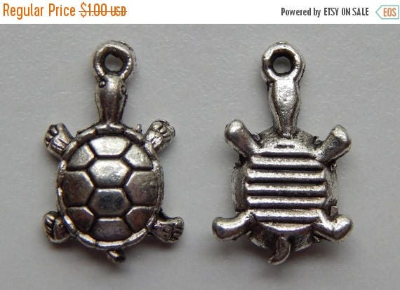 CLOSING SALE 10 Pieces of Metal Jewelry Charms - 18mm Turtle, Animal, Beach, Sea Life, Drop, Single Sided, Antique Silver Color, Base Metal,