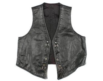 vintage mens black leather vest • size 42 / 44