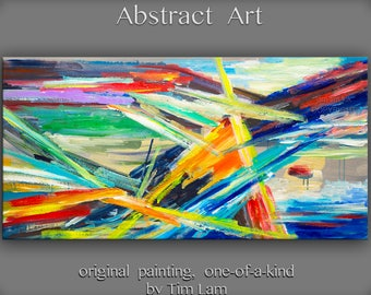 """Original large Surreal Abstract Painting  wall art Oil painting Modern design wall decor  on gallery wrap canvas by Tim Lam 48"""" x 24"""""""