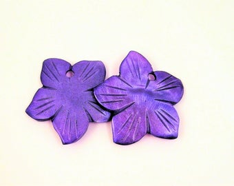 purple shell flower pendant charms- set of 2