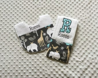 Baby Boy  2 Piece Gift Set, Bib and Personalized Burp Cloth - Michael Miller Zoology