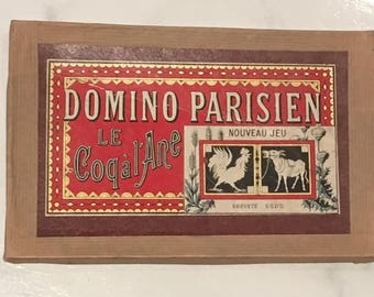 Vintage or Antique Paris Game French Country Theme Dominoes
