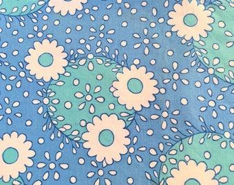 Vintage Fabric Mod Daisy Polka Dot Blue Turquoise