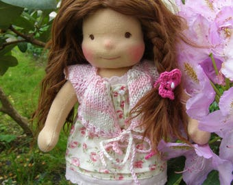 Elle - Sitting style Waldorf Inspired Doll , 9 inch