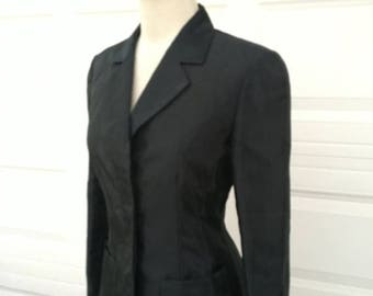25% OFF SALE Vintage 1980s KENZO Paris made in France rare black shiny tailored blazer jacket size 38 Xs S