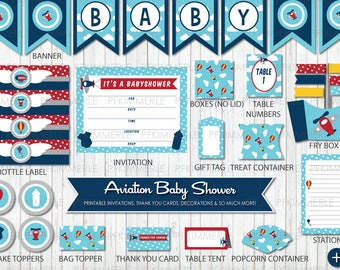 Aviation Baby Shower, Printable Party Pack,DIY, Banner, Invitation, Favors, Cupcake Toppers, Deco, Airplane, Air Balloon, First, Kid Party