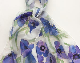 Blue Anemones hand painted silk scarf.  Handpainted silk scarves. Flower scarf.  Silk scarves handpainted