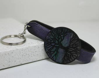 Tree Of Life hand painted leather key fob Key Chain