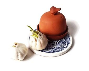 Vintage  Unglazed Bisque Garlic Keeper/ Terra Cotta Garlic Safe
