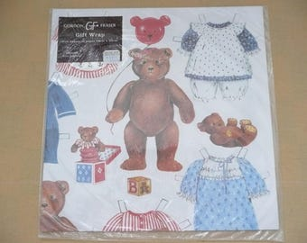 Gordon Fraser Teddy Bear Paper Doll Wrapping Paper, Paper Doll Gift Wrap, Teddy Bear Gift Wrap, Made in England, New in Package