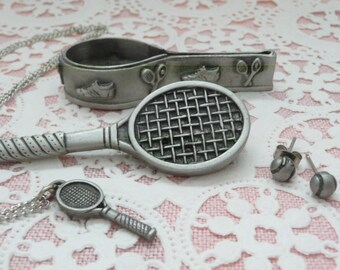 Ms. Dee Pewter Tennis Raquet Brooch, Necklace, Earrings and Storage Box, Tennis Racquet Necklace, Tennis Ball Earrings