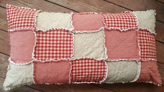 standard size red homespun pillow sham patchwork sham. Black Bedroom Furniture Sets. Home Design Ideas
