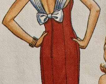 Low Cut Back Boned Evening Gown Pattern Strapless Dress 12 Butterick 6702