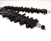 Custom order- Long black rubber earrings - minimalist dangle earrings geometric stripes summer jewelry