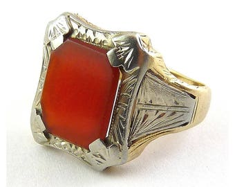 Antique 14K Yellow & White Gold Ring with Carnelian, 4.1 Grams, Edwardian/Art Deco, C 1915