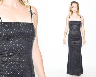 METALLIC  BLACK DRESS. 90's Vintage Long Dress. Silver Textured Sparkle. Spaghetti Strap. Mod Minimalist Long Dress. Size Small Medium.