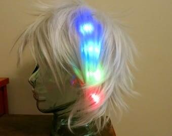 Wig Halloween LIGHT UP LED bachelorette cosplay platinum blonde club edm festival costume rainbow