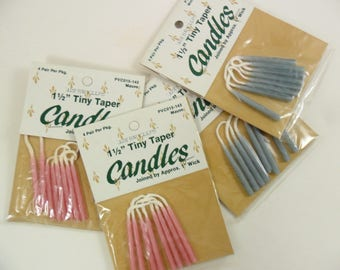 """Tiny Taper Candles 1 1/2"""" Joined Wick - Select Blue or Mauve - Vintage - 2 Packages of 8 Candles"""
