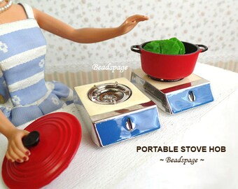 Miniature Metal Portable Stove Hob For 1/8 Scale ~ 1/6 Scale Dollhouse