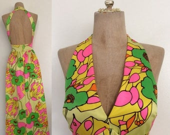 30% OFF 1960's Cole of California Iconic Floral Maxi w/ Lace-up Waist Keyhole Back Psychedelic Vintage Dress Size XS Small by Maeberry Vinta
