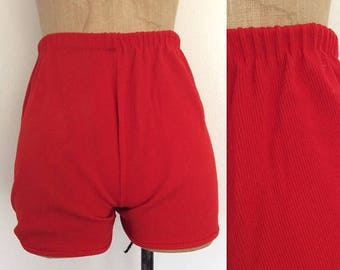 30% OFF 1970's Red Ribbed Hot Pants Vintage Shorts Size XS Small by Maeberry Vintage