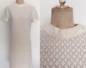 1970's White Polyester Knit Shift Dress Retro Crochet Vintage Dress Size Medium Large by Maeberry Vintage