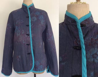 1970's Asian Inspired Blue Floral Quilted Jacket Size Medium by Maeberry Vintage