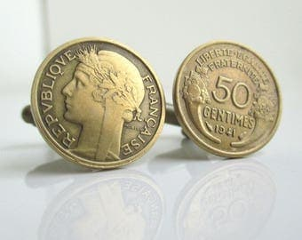 France Coin Cuff Links - Repurposed Vintage 50 Centimes Coins