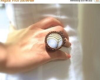 CIJ SALE Cotton Crochet Adjustable Ring, Round Caramel Agate Stone, Brown Cotton Crochet , Copper Glass Beads