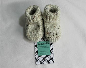 Natural Brown Fleck Hand Knit Baby Booties