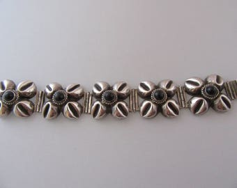 Vintage Sterling and Black Onyx Bracelet made in Mexico