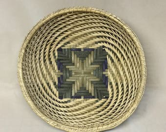Hand Woven Twill Bowl Basket, Green and Blue Colors