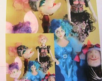 5 BRA DOLL PATTERNS~Barb Keeling~2005 Mouse~Cat~Ladies Magnificent whimsical cloth art doll bra pattern